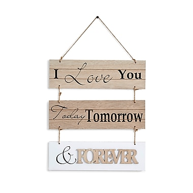 "Danya B ""I Love You Today, Tomorrow, & Forever"" Sectioned Wooden Wall Plaque (KS05910D)"