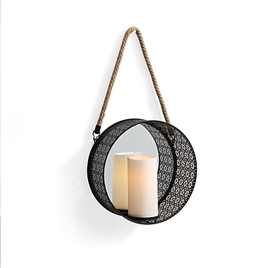 Danya B Round Mirror Pillar Candle Sconce with Filigree Metal Frame and Hanging Rope (SE1908)