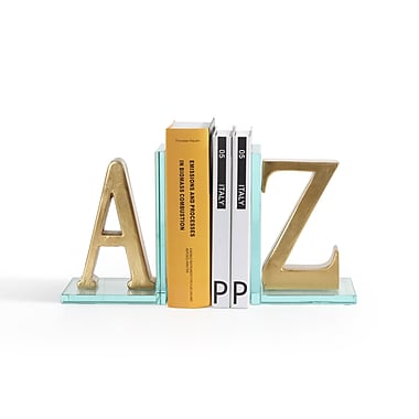 Danya B Gold A to Z Glass Bookends, 2/Pack (DS830)