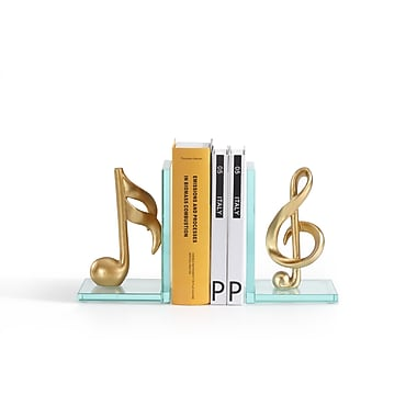 Danya B Gold Musical Glass Bookends, 2/Pack (DS840)