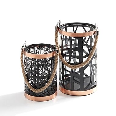 Danya B Filigree Hurricanes with Glass Insert, Rose Gold Trim and Rope Handle, 2/Pack (KF951)
