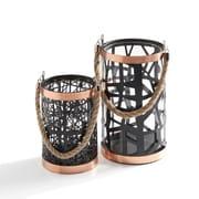 Danya B. Set of 2 Filigree Hurricanes with Glass Insert, Rose Gold Trim and Rope Handle (KF951)