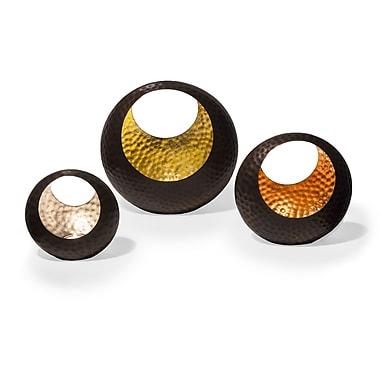 Danya B Basket Shape Tea Light Holder Set with Gold, Silver & Copper Leaf, 3/Pack (SN521)