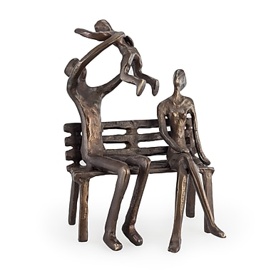 Danya B Couple with Baby on Bench Bronze Sculpture (ZD12175)