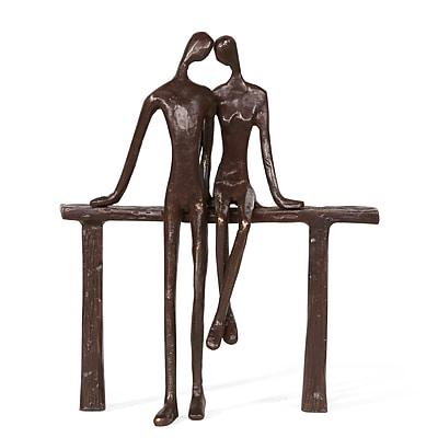 Danya B. Romantic Couple Reclining on Bench Bronze Sculpture (ZD16058)