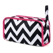 Zodaca Womens Hanging Travel Cosmetic Bag Toiletry Pouch Makeup Organizer Storage Case - Black/White Chevron Pink Trim