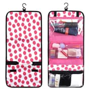 Zodaca Travel Hanging Cosmetic Toiletry Carry Bag Wash Organizer Storage - Clear Pink Dots with Black Trim
