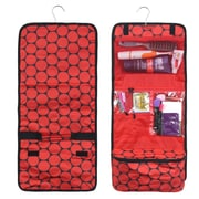 Zodaca Travel Hanging Cosmetic Carry Bag Toiletry Wash Organizer Storage - Red Dots on Black