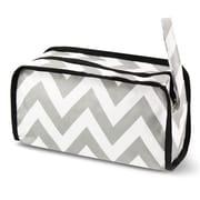 Zodaca Travel Cosmetic Makeup Case Bag Pouch Toiletry Zip Organizer - White/Gray Chevron
