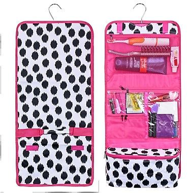 Zodaca Travel Hanging Cosmetic Carry Bag Toiletry Wash Organizer Storage - Black Dots with Pink Trim