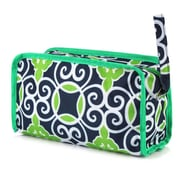 Zodaca Womens Travel Cosmetic Bag Multifunction Toiletry Pouch Makeup Organizer Zip Storage Case - Navy Green Swirls