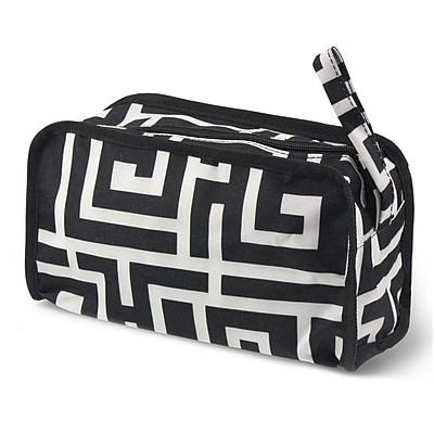Zodaca Travel Cosmetic Makeup Case Bag Pouch Toiletry Zip Organizer - Black Greek Key with Black Trim