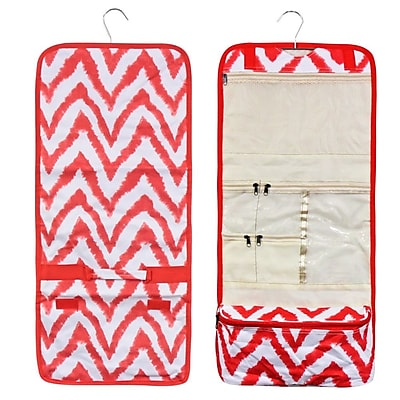 Zodaca Travel Hanging Cosmetic Carry Bag Toiletry Wash Organizer Storage - Red/White Chevron