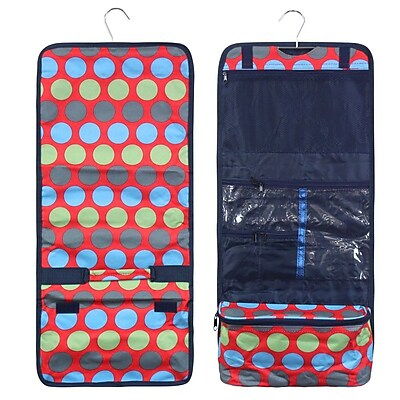 Zodaca Travel Hanging Cosmetic Carry Bag Toiletry Wash Organizer Storage - Blue Green Dots on Red
