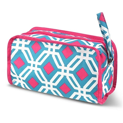 Zodaca Travel Cosmetic Makeup Case Bag Pouch Toiletry Zip Organizer - Blue Graphic