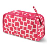 Zodaca Travel Cosmetic Makeup Case Bag Pouch Toiletry Zip Organizer - White/Pink Geometric