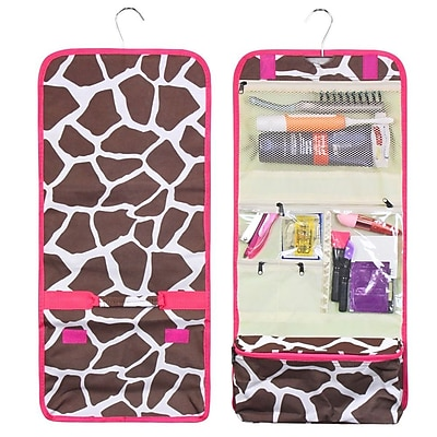 Zodaca Travel Hanging Roll Up Cosmetic Toiletry Makeup Organizer Storage Pouch Carry Bag for Camping Hiking - Giraffe