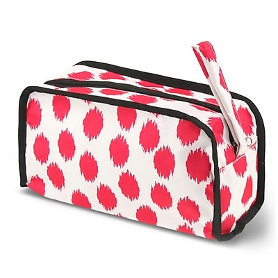 Zodaca Travel Cosmetic Makeup Case Bag Pouch Toiletry Zip Organizer - Pink Dots with Black Trim