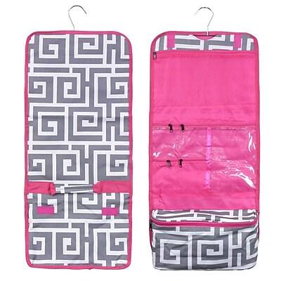 Zodaca Travel Hanging Cosmetic Carry Bag Toiletry Wash Organizer Storage - Greek Key with Pink Trim