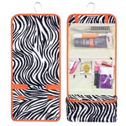 Zodaca Travel Hanging Roll Up Cosmetic Toiletry Makeup Organizer Storage Pouch Carry Bag for Camping Hiking - Zebra