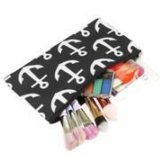 Zodaca Pencil Case Toiletry Holder Cosmetic Bag Travel Makeup Zip Storage Organizer - Black Anchors
