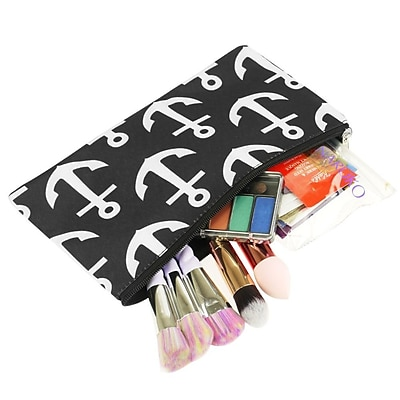 Zodaca Pencil Case Toiletry Holder Cosmetic Bag Travel Makeup Zip Storage Organizer - Black Anchors