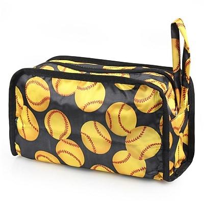 Zodaca Women Travel Pencil Case Cosmetic Makeup Storage Organizer Bag Toiletry Zip Pouch w/Wrist Handle - Yellow