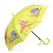 Zodaca Children Kids Lightweight Portable Nylon Umbrella with Hook Handle for Rainy School days - Yellow Owl