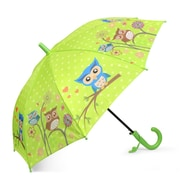 Zodaca Children Kids Lightweight Portable Nylon Umbrella with Hook Handle for Rainy School days - Green Owl
