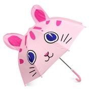 Zodaca Children Kids Lightweight Portable Nylon Umbrella with Hook Handle for Rainy School days - Kitty Cat
