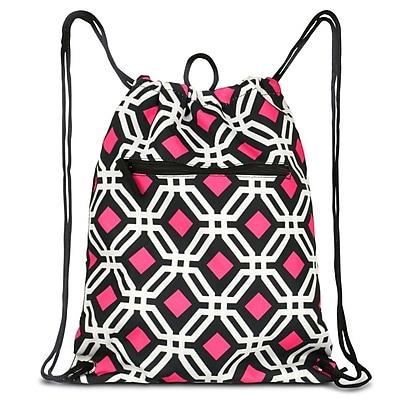 Zodaca Lightweight Sling Drawstring Bag Foldable Backpack Sports Gym Fitness - Black Graphic