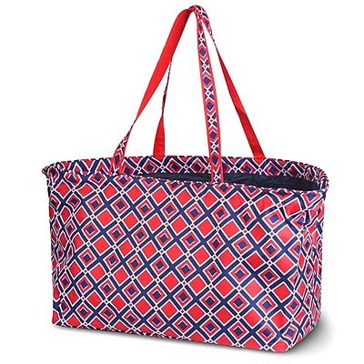 Zodaca Stylish Large All Purpose Open Top Handbag Laundry Shopping Utility Tote Carry Bag - Times Square Red
