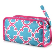Zodaca Womens Travel Cosmetic Bag Multifunction Toiletry Pouch Makeup Organizer Zip Storage Case - Pink Quatrefoil