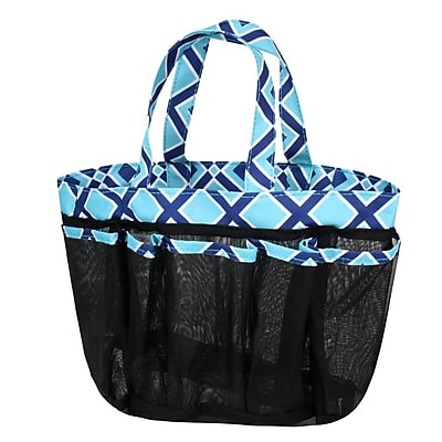 Zodaca Lightweight Mesh Shower Caddie Bag Quick Dry Bath Organizer Carry Tote Bag for Gym Camping - Navy/Turquoise