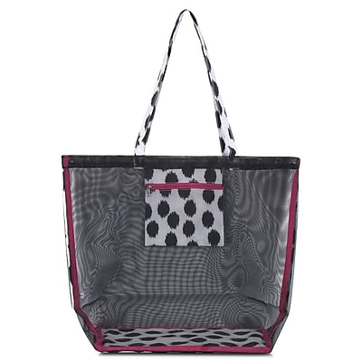 Zodaca Waterproof Beach Mesh Picnic HandBag Shoulder Tote Carry Bag for Shopping Outdoor Activity - Black Dots with Pink