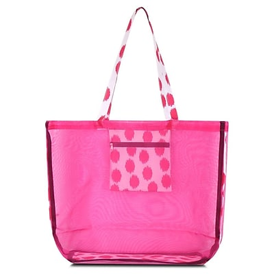 Zodaca Waterproof Beach Mesh Picnic HandBag Shoulder Tote Carry Bag for Shopping Outdoor Activity - Pink Dots with Black Trim