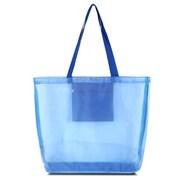 Zodaca Waterproof Beach Mesh Picnic HandBag Shoulder Tote Carry Bag for Shopping Outdoor Activity - Solid Blue