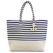 "Zodaca Stripes Women Handbag Ladies Large Shoulder Tote Purse Messenger Bag (Size: 22"" L x 6"" D x 15.5"" H) - Navy/White"