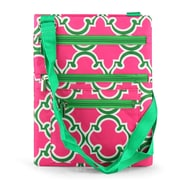 Zodaca Lightweight Padded Shoulder Cross Body Bag Messenger Zip Bag for Work Shopping Traveling - Pink Quatrefoil