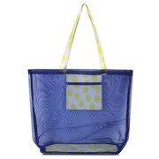 Zodaca Waterproof Beach Mesh Picnic HandBag Shoulder Tote Carry Bag for Shopping Outdoor Activity - Yellow Dots with Blue Trim