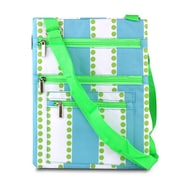 Zodaca Lightweight Padded Shoulder Cross Body Bag Messenger Zip Bag for Work Shopping Traveling - Blue Green Line Dot
