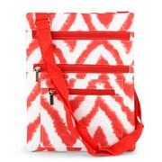Zodaca Lightweight Padded Shoulder Cross Body Bag Messenger Travel Camping Zipper Bag - Chevron Tie Dye Red