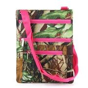Zodaca Lightweight Padded Shoulder Cross Body Bag Messenger Travel Camping Zipper Bag - Natural Camo with Pink Trim