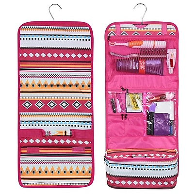 Zodaca Travel Hanging Cosmetic Carry Bag Toiletry Wash Organizer Storage - Aztec with Pink Trim