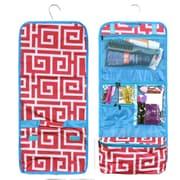Zodaca Travel Hanging Cosmetic Carry Bag Toiletry Wash Organizer Storage - Pink Greek Key with Blue Trim