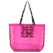 Zodaca Waterproof Beach Mesh Picnic HandBag Shoulder Tote Carry Bag for Shopping Outdoor Activity - Black Anchors with Pink Trim