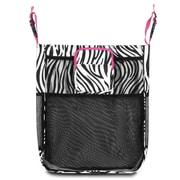 Zodaca Baby Cart Strollers Bag Buggy Pushchair Organizer Basket Storage Bag for Walk Shopping - Zebra Pink Trim
