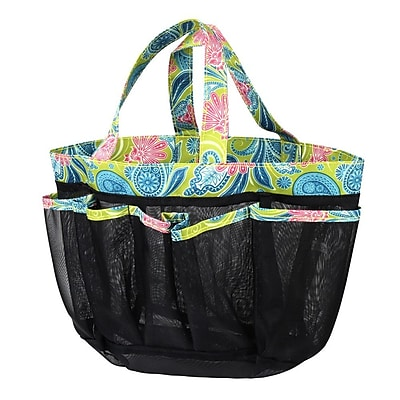 Zodaca Lightweight Mesh Shower Caddie Bag Quick Dry Bath Organizer Carry Tote Bag for Gym Camping - Green Paisley