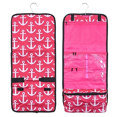 Zodaca Travel Hanging Cosmetic Carry Bag Toiletry Wash Organizer Storage - Pink Anchors with Black trim