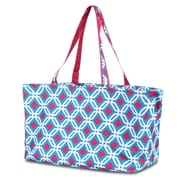 Zodaca Large All Purpose Stylish Magnetic Clasp Open Top Handbag Laundry Shopping Utility Tote Carry Bag - Graphic Blue